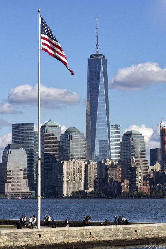 Ellis Island Flag and 1 WTC